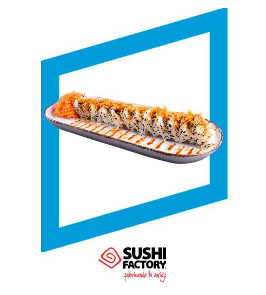 En la compra de un rollo (12 pzas.) y 2 bebidas. Recibe otro rollo (12 pzas.) gratis. - Sushi Factory